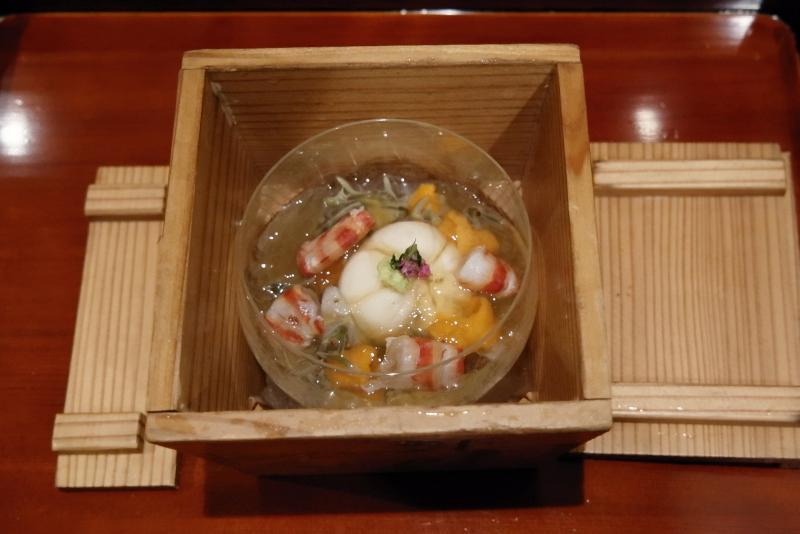 胡麻豆腐、車海老、バフンウニ、鳥貝、ジュンサイ