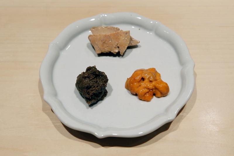あん肝、バフンウニ、鮎ペースト