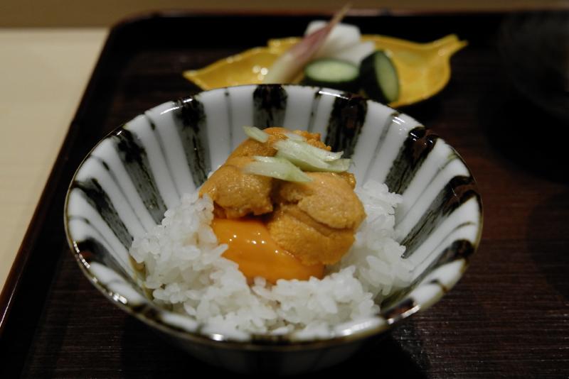 バフンウニ、卵ご飯