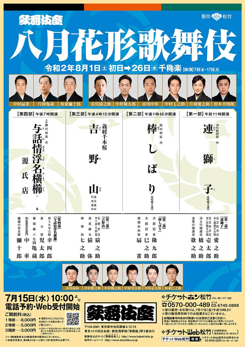 八月花形歌舞伎 第四部『与話情浮名横櫛 源氏店』歌舞伎座