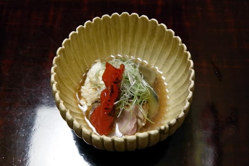 京鴨ロース、茄子、万願寺唐辛子、鱧と湯葉