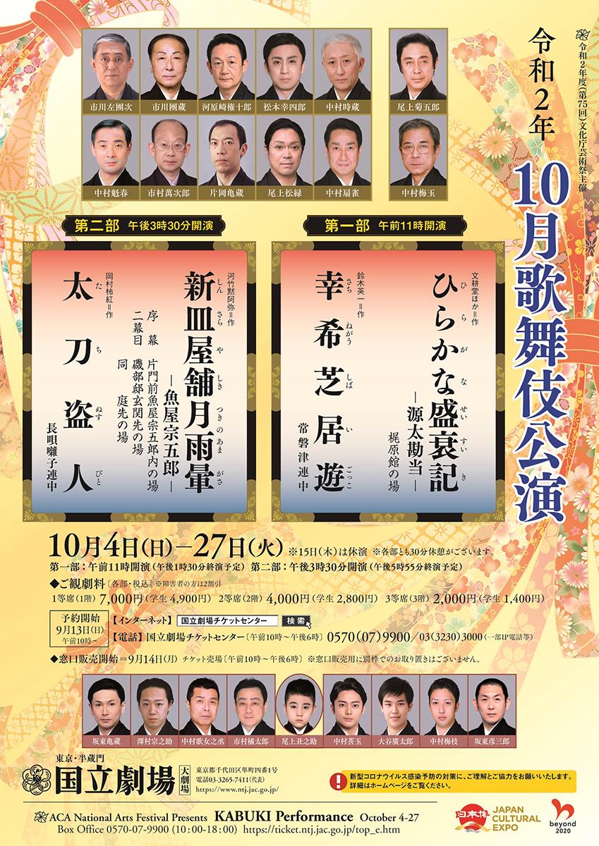 令和2年10月歌舞伎公演 第一部『ひらかな盛衰記 源太勘当』『幸希芝居遊』国立劇場