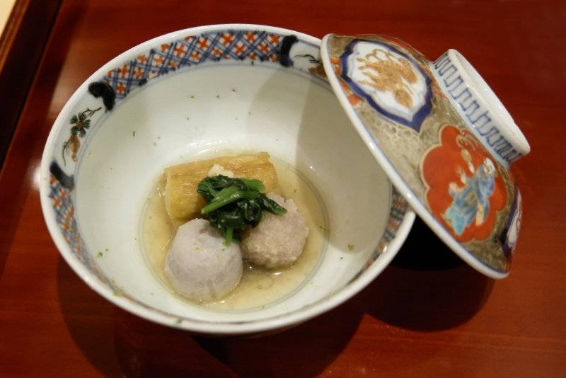 焼き茄子、石川小芋、蓮根餅の炊合せ