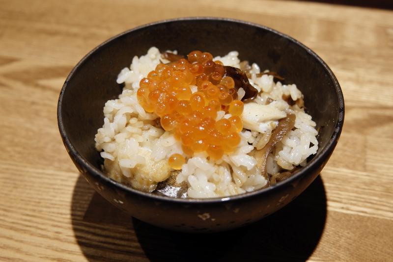 キノコと太刀魚とイクラの混ぜご飯