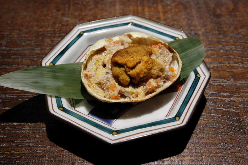 焼き香箱蟹、ウニ