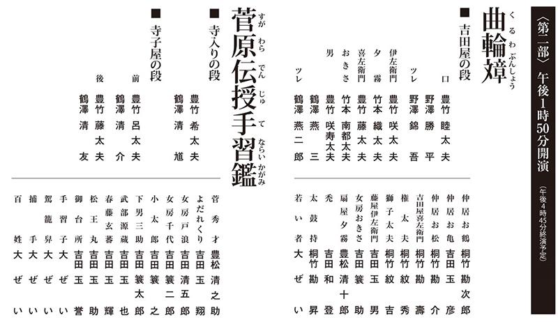 令和3年2月文楽公演 第二部『曲輪文章』『菅原伝授手習鑑 寺子屋』国立劇場