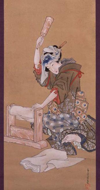 葛飾応位「月下砧打ち美人図」