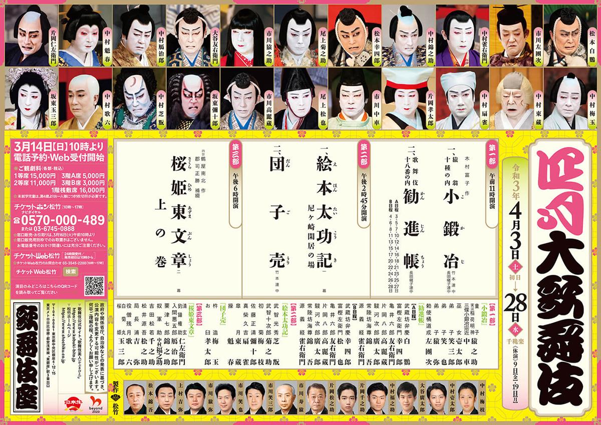 四月大歌舞伎 第一部『小鍛冶』『勧進帳』歌舞伎座