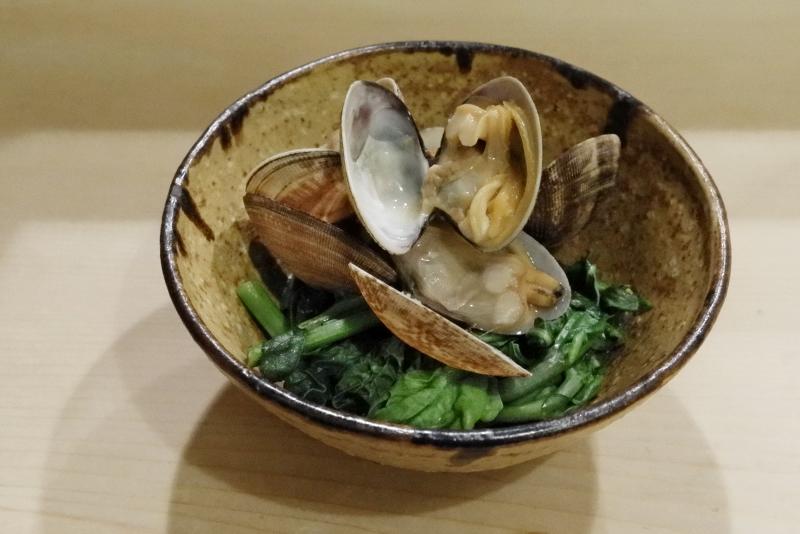 のらぼう菜、かつお菜、浅利の煮浸し