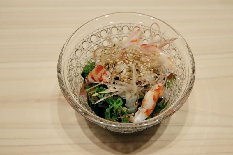 車海老、海藻、茗荷の酢の物