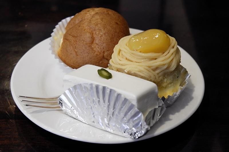 レアチーズケーキ、シュークリーム、クープ・ド・マロン